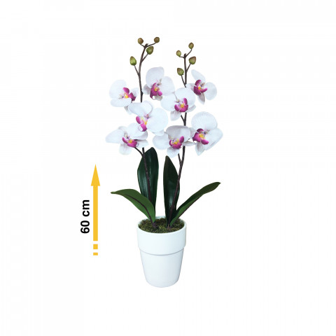 Blanche Artificielle Tiges Composition Orchidée 60cm Mauve 2 Divers Striée doxBreC