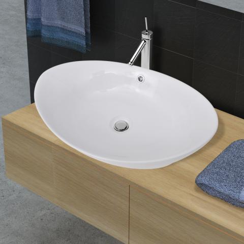 Vidaxl Luxueuse Vasque Céramique Ovale Avec Trop Plein 59 X 385 Cm