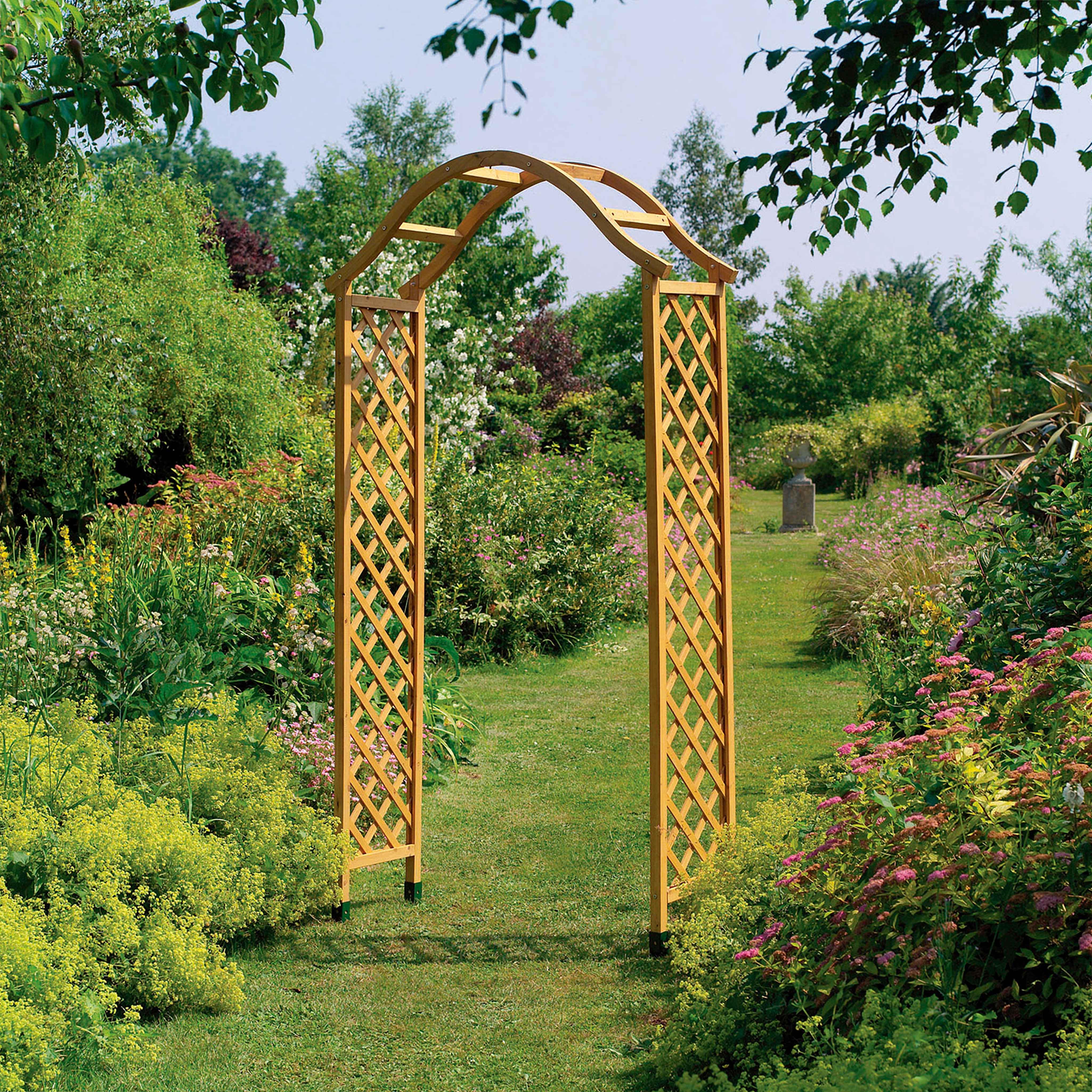 Claustra Treillis Exterieur Bois arche de jardin treillis bois h:2.2m - distriartisan