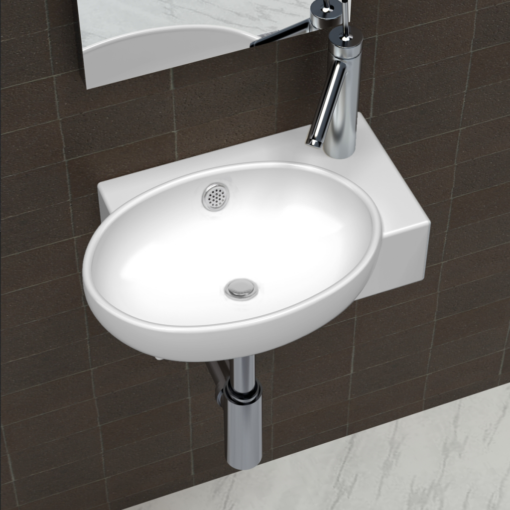 Cacher Trou Carrelage Salle De Bain vidaxl vasque de salle bains céramique blanc avec trou trop-plein