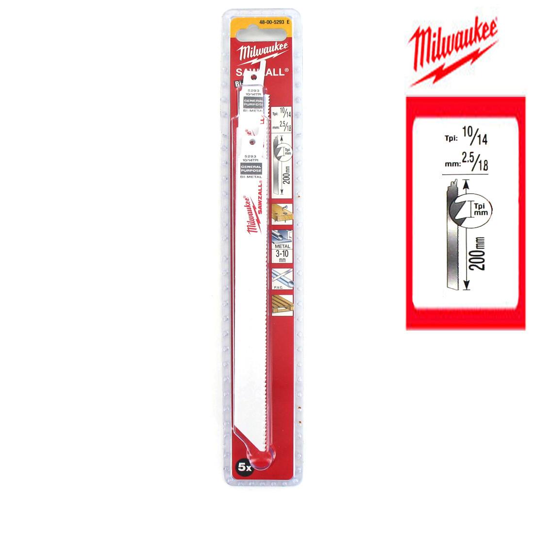 MILWAUKEE 48005293 bi 200MM x 10//14 tpi scie sabre lames