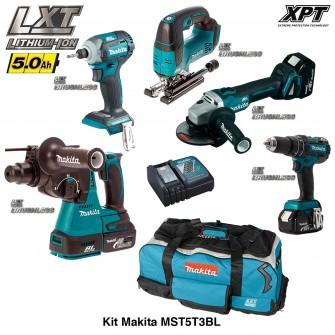 Kit 5 outils électroportatifs MST5T3BL Brushless 18V Makita (3 batteries 4,0Ah + chargeur + trolley)