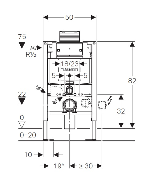 geberit b ti support wc faible hauteur 82 cm duofix omega 12 cm autoportant distriartisan. Black Bedroom Furniture Sets. Home Design Ideas