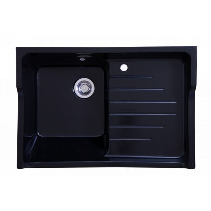 evier c ramique 1 bac egouttoir grand si cle noir sarreguemines distriartisan. Black Bedroom Furniture Sets. Home Design Ideas