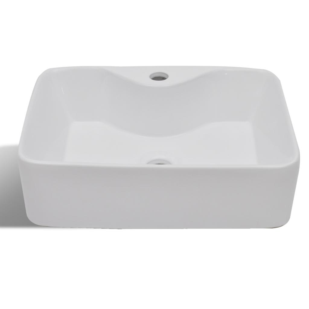 Vidaxl vidaxl vasque carr trou pour robinet c ramique for Robinet vasque salle de bain