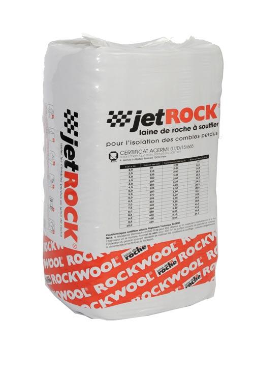rockwool laine de roche souffl e jetrock pour l 39 isolation des combles perdus de palette de 35. Black Bedroom Furniture Sets. Home Design Ideas