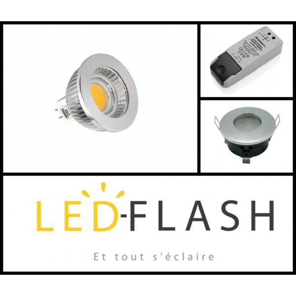 vision el kit spot led tanche gu5 3 cob 4 watt dimmable couleur eclairage blanc froid. Black Bedroom Furniture Sets. Home Design Ideas