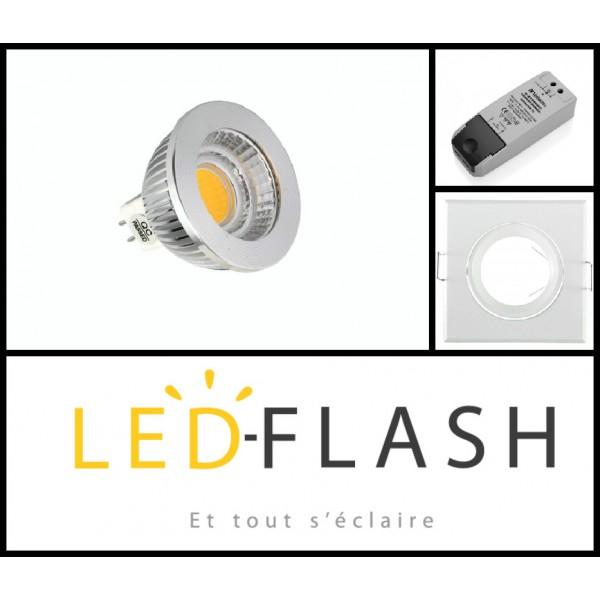 vision el kit spot led gu5 3 cob 5 watt dimmable couleur eclairage blanc chaud 3000 k. Black Bedroom Furniture Sets. Home Design Ideas